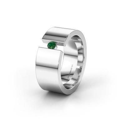 Trouwring WH0146L18BP 925 zilver smaragd ±8x2 mm