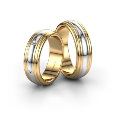 Bild von Trauringe set WH2236LM ±6x2 mm 14 Karat Gold Diamant 0.02 crt