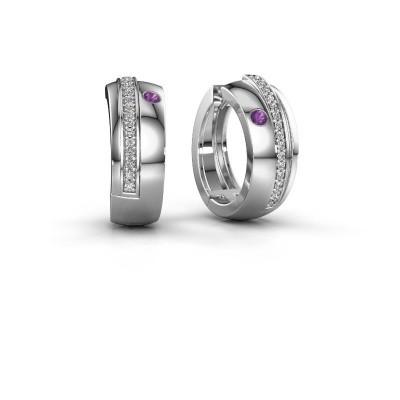 Picture of Hoop earrings Shakita 925 silver amethyst 2 mm
