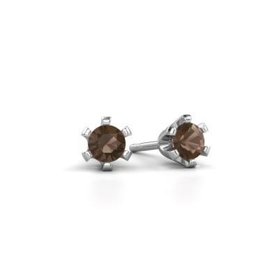 Picture of Stud earrings Shana 585 white gold smokey quartz 4 mm