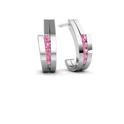 Picture of Earrings Cato 925 silver pink sapphire 2.2 mm