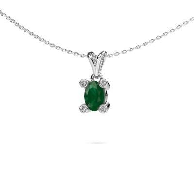 Foto van Ketting Cornelia Oval 950 platina smaragd 7x5 mm