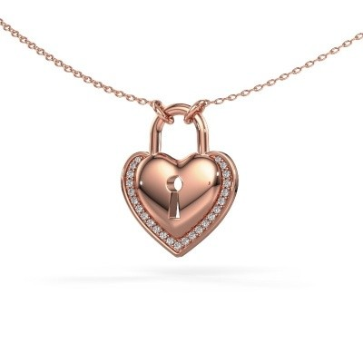 Foto van Halsketting Heartlock 375 rosé goud zirkonia 1 mm