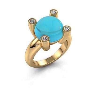 Foto van Ring Janice RND 585 goud blauw topaas 12 mm