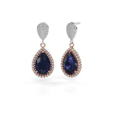Picture of Drop earrings Cheree 2 585 rose gold sapphire 12x8 mm