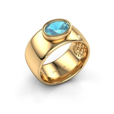 Foto van Ring Anouschka 585 goud blauw topaas 8x6 mm
