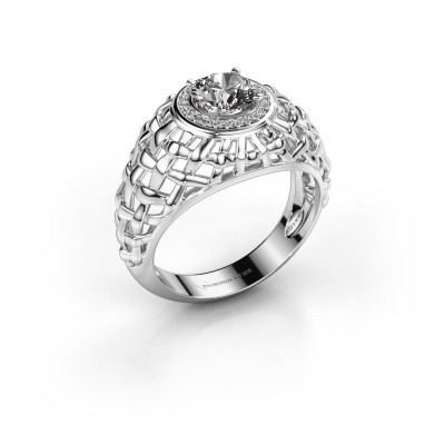 Pinkring Jens 585 witgoud diamant 1.12 crt
