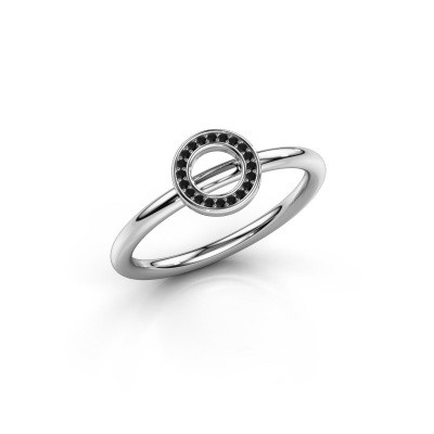 Foto van Ring Shape round small 950 platina zwarte diamant 0.06 crt