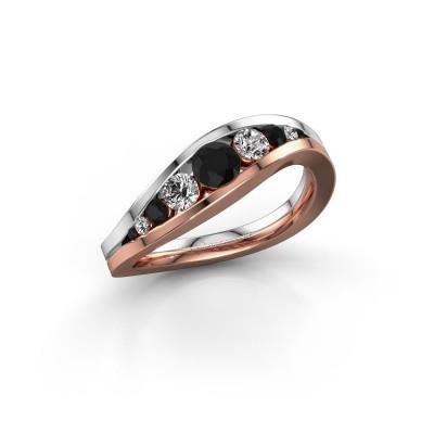 Foto van Ring Sigrid 2 585 rosé goud zwarte diamant 0.664 crt
