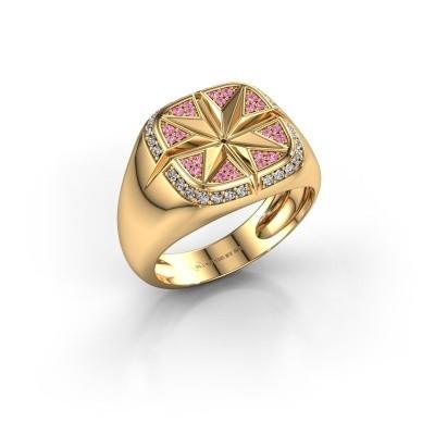 Foto van Heren ring Ravi 585 goud roze saffier 1 mm