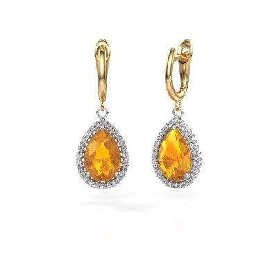 Picture of Drop earrings Hana 1 585 white gold citrin 12x8 mm