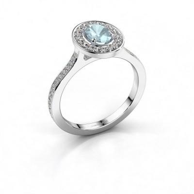 Foto van Ring Madelon 2 925 zilver aquamarijn 7x5 mm