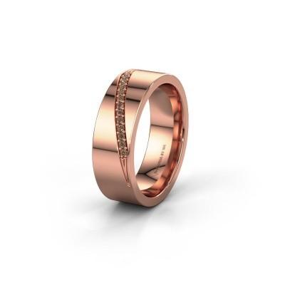 Trouwring WH2146L17A 585 rosé goud bruine diamant ±7x1.7 mm
