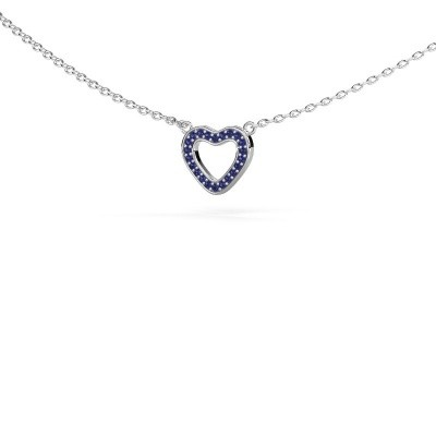 Picture of Pendant Heart 4 585 white gold sapphire 0.8 mm