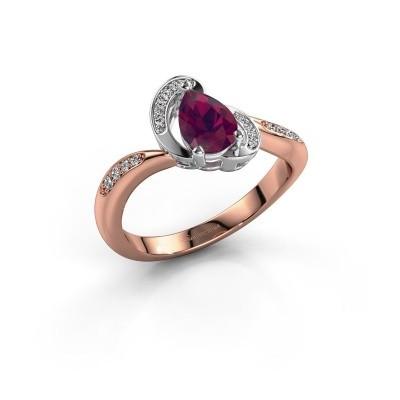 Foto van Ring Jonelle 585 rosé goud rhodoliet 7x5 mm