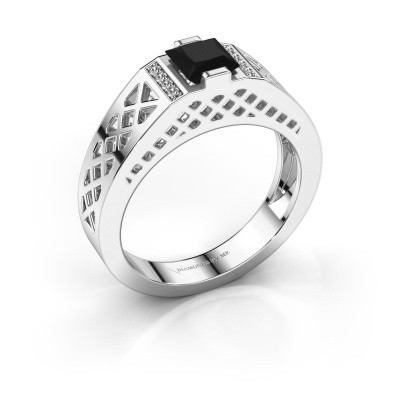 Foto van Heren ring Jonathan 925 zilver zwarte diamant 0.990 crt