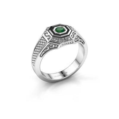Foto van Heren ring Dion 375 witgoud smaragd 4 mm