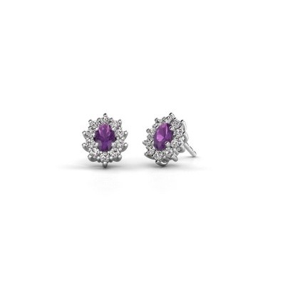 Picture of Earrings Leesa 585 white gold amethyst 6x4 mm