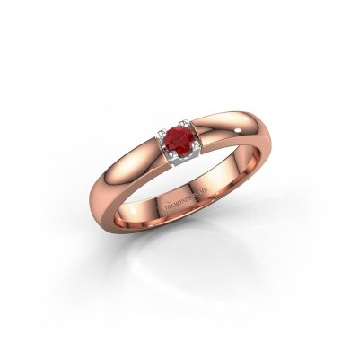 Foto van Verlovingsring Rianne 1 585 rosé goud robijn 3 mm