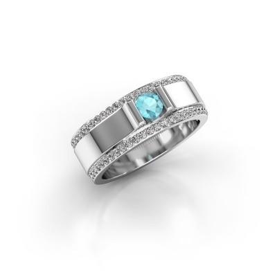 Foto van Herenring Danillo 925 zilver blauw topaas 4.2 mm