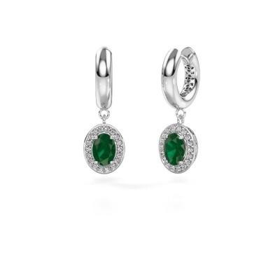 Picture of Drop earrings Annett 950 platinum emerald 7x5 mm