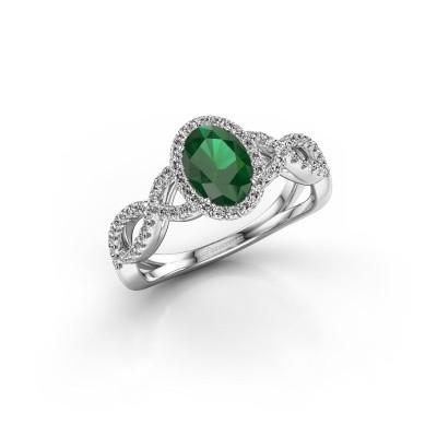 Foto van Verlovingsring Tanesha 585 witgoud smaragd 7x5 mm
