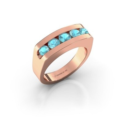 Foto van Heren ring Richard 585 rosé goud blauw topaas 4 mm