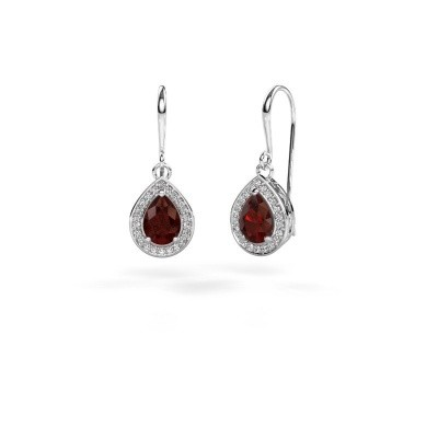 Picture of Drop earrings Beverlee 1 585 white gold garnet 7x5 mm