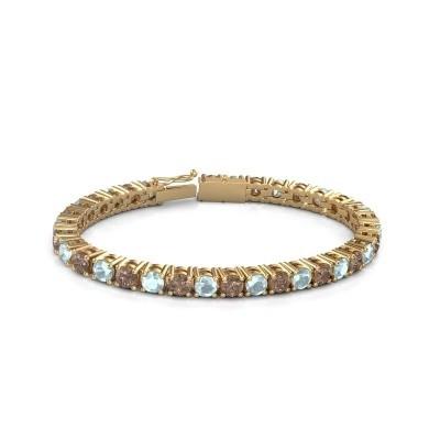 Foto van Tennisarmband Ming 375 goud bruine diamant 17.00 crt
