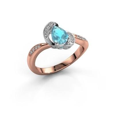 Foto van Ring Jonelle 585 rosé goud blauw topaas 7x5 mm