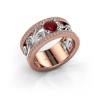 Foto van Ring Sanne 585 rosé goud robijn 5 mm