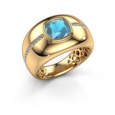 Foto van Ring Sydney 375 goud blauw topaas 7.5 mm