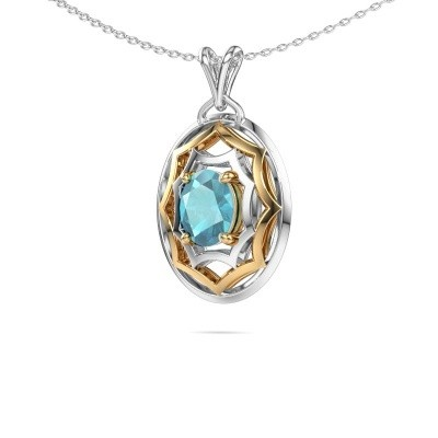 Picture of Necklace Evangelina 585 gold blue topaz 8x6 mm