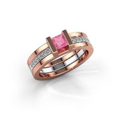 Foto van Ring Desire 585 rosé goud roze saffier 4 mm