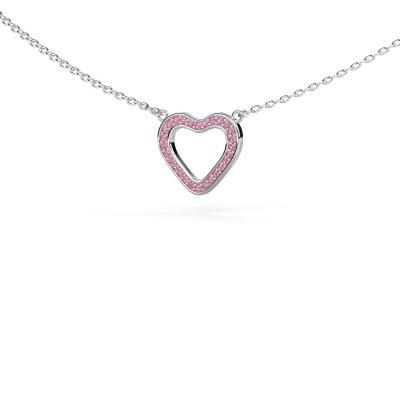 Bild von Anhänger Heart 3 925 Silber Pink Saphir 0.8 mm