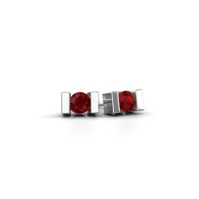 Picture of Stud earrings Lieve 375 white gold ruby 3.7 mm