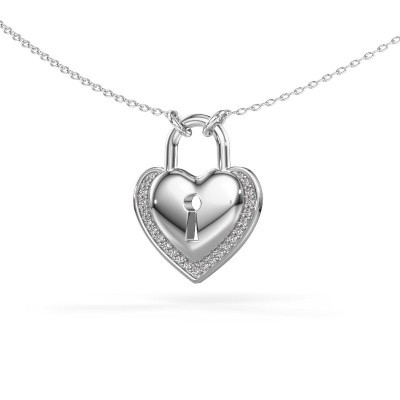 Foto van Halsketting Heartlock 375 witgoud zirkonia 1 mm
