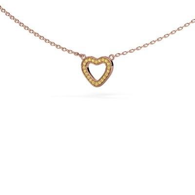 Foto van Hanger Heart 4 375 rosé goud gele saffier 0.8 mm