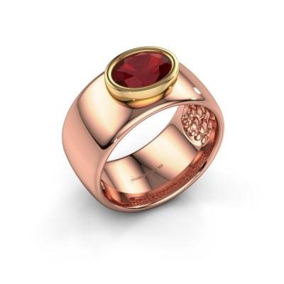 Foto van Ring Anouschka 585 rosé goud robijn 8x6 mm