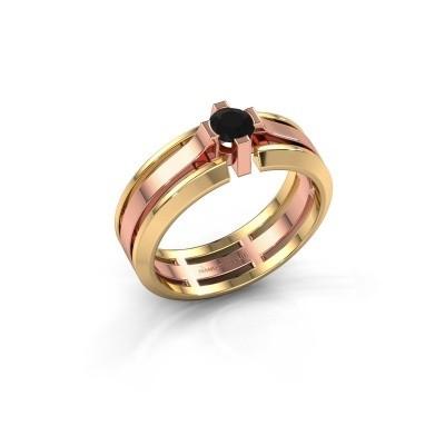 Foto van Heren ring Sem 585 rosé goud zwarte diamant 0.48 crt