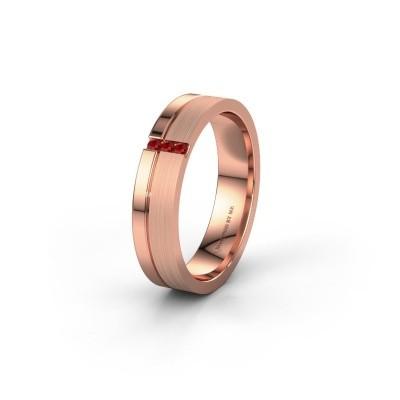 Trouwring WH0157L14XPM 585 rosé goud robijn ±4x1.4 mm
