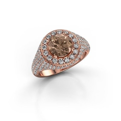 Foto van Ring Dayle 375 rosé goud bruine diamant 2.463 crt