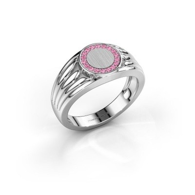 Foto van Pinkring Jacobus 950 platina roze saffier 1.2 mm
