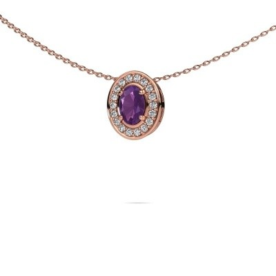 Picture of Necklace Madelon 375 rose gold amethyst 6x4 mm