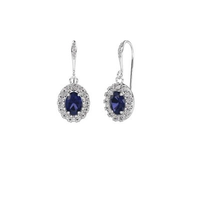 Picture of Drop earrings Jorinda 2 375 white gold sapphire 7x5 mm