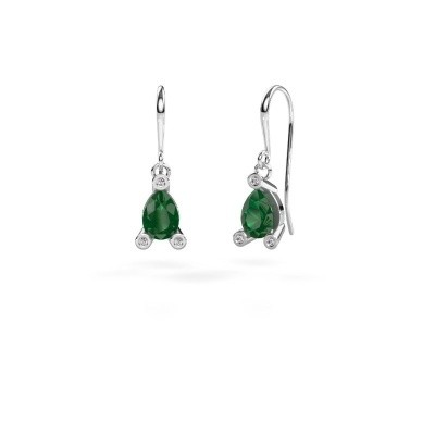 Picture of Drop earrings Bunny 1 950 platinum emerald 7x5 mm