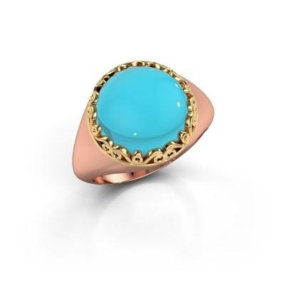 Foto van Ring Birgit 585 rosé goud blauw topaas 12 mm