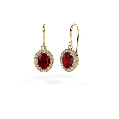 Picture of Drop earrings Latesha 585 gold ruby 8x6 mm