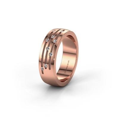 Trouwring WH0134L26B 585 rosé goud lab created ±6x2 mm