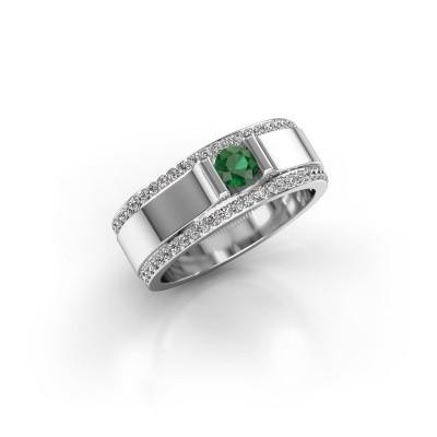 Foto van Herenring Danillo 585 witgoud smaragd 4.2 mm